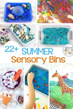 Summer Sensory Bins - The Best Sensory Activities for Summer, Your kids will love these Summer Sensory Bins and putting them together for fun preschool sensory activities or a summer activity is easy. Summer Sensory Activities and Summer Themes like oceans, ice cream, gardens, under the sea, pollution, beach and so much more. Sensory Activities for Toddlers too