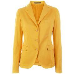 Tagliatore 0205 Yellow Blazer Maria (36.205 RUB) ❤ liked on Polyvore featuring outerwear, jackets, blazers, coats, tops, women, yellow jacket, yellow blazer, yellow blazer jacket and blazer jacket