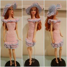 This article is a free crochet pattern for a Barbie flounce off-shoulder ruffled dress with a hat.