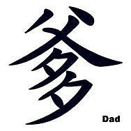 Dad Chinese Symbol father temporary tattoo, pkg 5