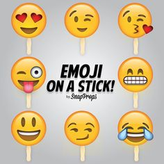 Emoji on a Stick - Smiley Emoji Party Photobooth Prop - Large 8 Piece Set (Approx. 8 inch) - Pre-Assembled NO GLUING NECESSARY
