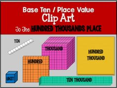 Base Ten / Place Value Clip Art to the Hundred Thousands PlaceThis clip art can…