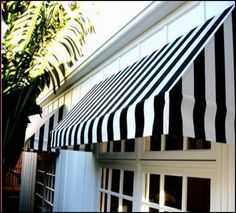 House Exterior Black And White Patio Ideas Fabric Awning, Awning Canopy, Porch Awning, Porches, Window Awnings, House Awnings, Outdoor Awnings, Outdoor Blinds, House Windows