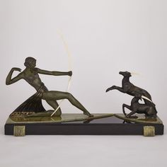 """FRENCH ART DECO PATINATED METAL AND IVORY MANTEL GROUP OF DIANA HUNTING GAZELLES, C.1925  on onyx and marble base, 21.75"""" x 32"""" — 55.2 x 81.3 cm. Inuit Art, French Art, Art Auction, Online Art, Art Decor, Diana, Hunting, Marble, Objects"""