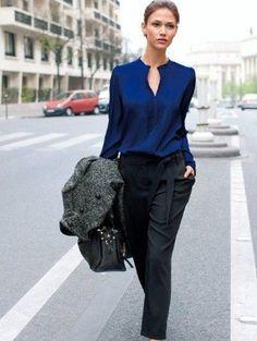 Anotar aí: roupas escuras passam credibilidade, e assim, são uma boa pedida para aquela tão aguardada entrevista de emprego
