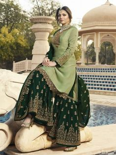 Buy Pale Green Georgette Embroidered Sharara Suit - Salwar Kameez for Women from Andaaz Fashion at Best Prices. Style ID: Pakistani Fashion Party Wear, Punjabi Fashion, Pakistani Dresses Casual, Indian Party Wear, Indian Fashion Dresses, Dress Indian Style, Pakistani Dress Design, Indian Designer Outfits, Pakistani Gharara