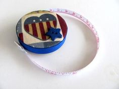 Folk Art Patriotic Fabric Tape Measure by AllAboutTheButtons for $7.00