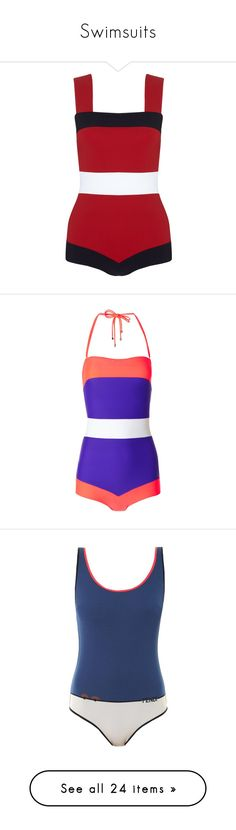 """Swimsuits"" by claudiagir ❤ liked on Polyvore featuring swimwear, one-piece swimsuits, bodysuit, swim, beachwear, bikini, multi, one piece swimsuit, retro one piece swimsuit and low back swimsuit"