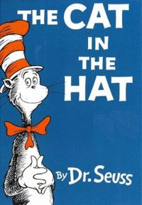 """Classic Dr. Seuss - """"The Cat in the Hat""""    The Cat in the Hat is a children's book by Dr. Seuss and perhaps the most famous, featuring a tall, anthropomorphic, mischievous cat, wearing a tall, red and white-striped hat and a red bow tie. With the series of Beginner Books that The Cat inaugurated, Seuss promoted both his name and the cause of elementary literacy in the United States of America"""