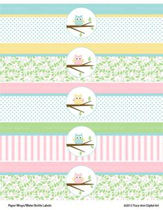 Pastel Owl Printable Water Bottle Wraps - Paper Ribbons Printable party