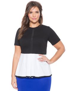 Poplin Colorblock Peplum Top from eloquii.com