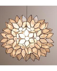 Large Capiz Lotus Hanging Pendant Lantern - World Market