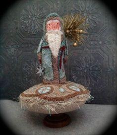Original Punch Needle Christmas Primitive Santa OOAK Folk Art Belsnickle blf
