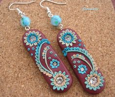 stunning wine red polymer clay dangle earrings. $26.00, via Etsy.