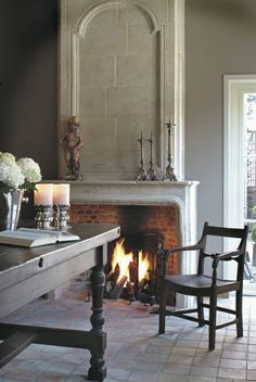 limestone fireplace surround, trumeau, 't Achterhuis Historische Bouwmaterial (nl) as seen on linenandlavender.net