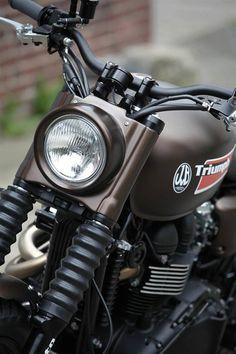 "motorcycle modification: Triumph ""Dirty Deeds Mk by JvB-Moto Triumph Scrambler Custom, Triumph Street Scrambler, Triumph Motorcycles, Custom Motorcycles, Custom Bikes, Honda Gl Pro, Cb Cafe Racer, Kawasaki Vulcan 900 Classic, Green Motorcycle"