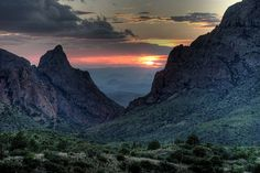 "Big Bend National Park, Texas. Sunset at ""The Window....rode through here on our Harley...it was so beautiful!"