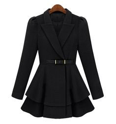 Ladylike Turn-Down Collar Long Edition Peplum Top Solid Color Coat, BLACK, XL in Jackets & Coats | DressLily.com