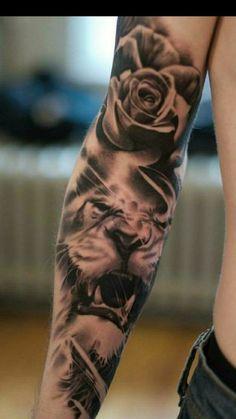 Lion Leg Tattoo, Inner Bicep Tattoo, Lion Tattoo Sleeves, Lion Head Tattoos, Mens Lion Tattoo, Sleeve Tattoos For Women, Forearm Tattoo Men, Lion Tattoos For Men, Animal Sleeve Tattoo