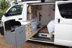 Show our finished van - ask me something! - The Build - Van Leben Forum Self Build Campervan, Build A Camper Van, Toyota Hiace Campervan, Toyota Camper, Toyota Van, Toyota Tacoma, Toyota Corolla, Minivan Camper Conversion, Van Storage
