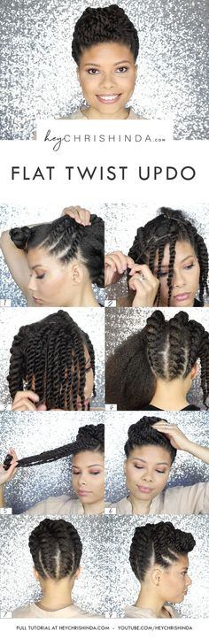Gorgeous natural hair flat twist updo. Natural hair style. Natural hair wedding updo. Corporate updo.