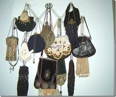 Neat display of vintage bags...