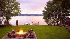 Summer evening bonfire.