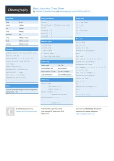 basic java data cheat sheet by superbjames httpwwwcheatographycom