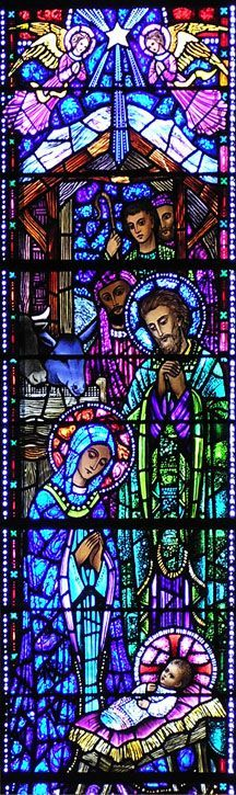 Timothy Catholic Church- Birth Of Our Lord Stained Glass Church, Stained Glass Art, Stained Glass Windows, Mosaic Glass, Catholic Art, Religious Art, Graphisches Design, Church Windows, Holy Night