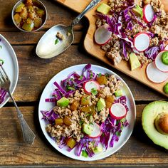 Turkey Tacos with Tomatillos, Radish & Avocado from @atkinsinsider. Get all of the ingredients delivered to your door at Chefd.com/Atkins! Turkey Tacos, Atkins Recipes, Cobb Salad, Acai Bowl, Avocado, Breakfast, Food, Acai Berry Bowl, Morning Coffee
