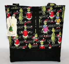 Dr Seuss Grinch Christmas Handmade Tote Bag Handbag Purse Free SHIP Black | eBay