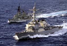 The Australian destroyer HMAS Brisbane (DDG 41) (top) and the U.S. Navy destroyer USS John S. McCain (DDG 56)