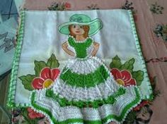Image result for croche vestido boneca pano de prato