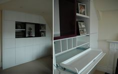 Concealed home office desk with pull-out computer shelf.