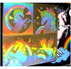 unicorn holographic stickers  I wish I would have kept my old sticker book from the '80s! I totally remember having these!