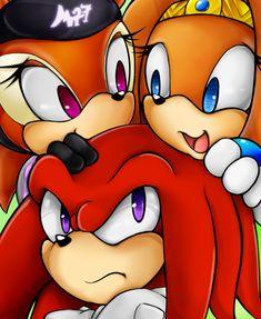 Shade, Tikal, and Knuckles. xD Knuckles doesn't look that happy.