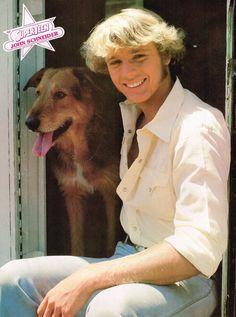 JOHN SCHNEIDER pinup - Cute with dog puppy!  BO DUKE  SUPERTEEN magazine ZTAMS