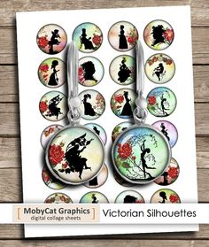 Victorian Silhouettes 12mm 14mm 16mm 18mm Printable Jewelry