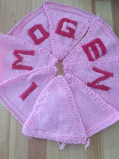 "Handmade Personalised Knitted Bunting ""Imogen"" Gift Baby Toddler  