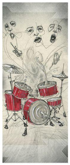 Drum Art Print  Drum Artwork  Music Artwork  by BlackInkArtz, $12.00