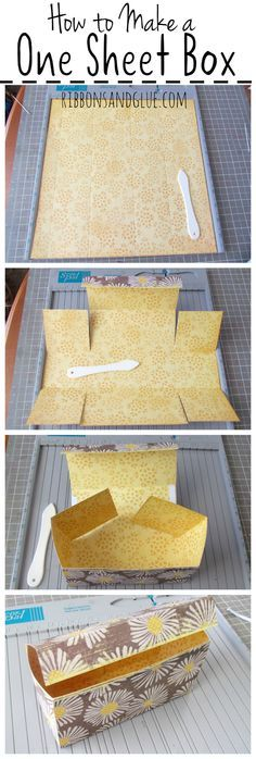 Follow this Easy Box Tutorial made out of one sheet of 12 x 12 Scrapbook Paper. This perfect size treat box can easily hold a small gifts or homemade treats. Printable step by step instructions included too.