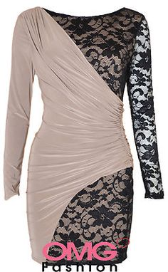 £26 NEW WOMENS LADIES CELEB LACE CONTRAST BODYCON DRESS SIZE 8 10 12 14 | eBay