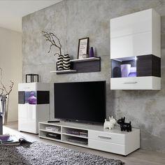Diese Schöne Wohnwand Besteht Aus Standvitrine, Hängevitrine, Lowboard Und  Wandpaneel Mit 2 Regalböden.
