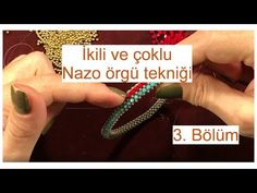 Dual and multiple Nazo weaving technique, second nazo weave Part Peyote Patterns, Beading Patterns, Beaded Jewelry, Beaded Bracelets, Right Angle Weave, Weaving Techniques, Beading Tutorials, Bead Weaving, Handmade Bracelets