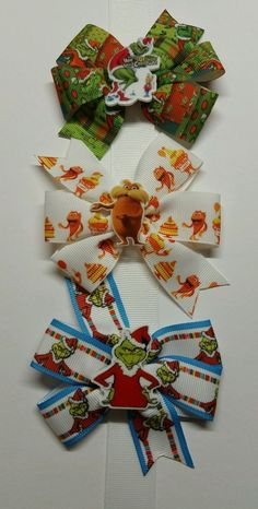 Mixe Lot 6 Hair Bows Boutique Girls Baby Toddler Grosgrain Ribbon 2 each #DrSeussHowtheGrinchStoleChristmasTheLorax