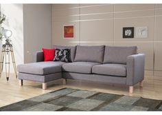 Canapé d'angle Norman tissu gris pas cher - vente canapés solde