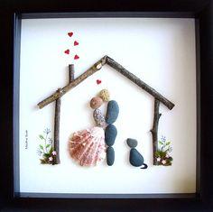 Unique WEDDING Gift- Customized Wedding Gift- Pebble Art- Unique Engagement Gift- Couple and Dog- Family of 2 and Dog- Bride and Groom Gift- Pebble Art by Medha Rode