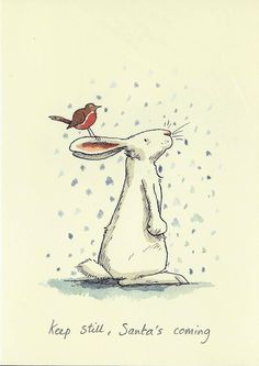 "Two Bad Mice Greeting Cards by Anita Jeram ""Keep Still, Santa's Coming"" Illustration Mignonne, Christmas Illustration, Children's Book Illustration, Lapin Art, Rabbit Art, Bunny Art, Christmas Art, Christmas Bunny, Christmas Greetings"