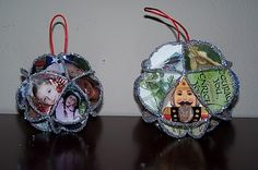 Christmas ornaments made from recycled Christmas Cards