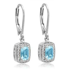 Sterling Silver Sky Blue Topaz and Diamond Lever Back Earrings ($50) ❤ liked on Polyvore featuring jewelry, earrings, earrings jewellery, blue topaz earrings, sterling silver earrings, diamond earring jewelry and sterling silver jewellery